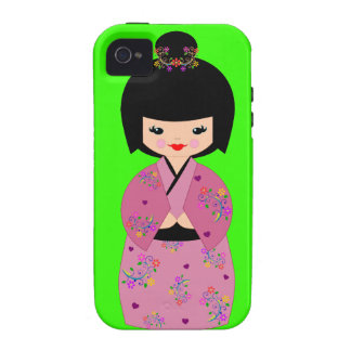 Kokeshi Doll in Floral Kimono on Green Cell Case Case-Mate iPhone 4 Covers