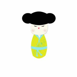 Kokeshi Doll With Yellow Kimono Photo Sculpture Decoration