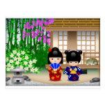 Kokeshi Dolls and Teahouse Postcard