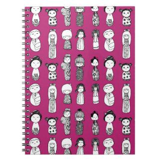Kokeshi Dolls on Magenta Note Book