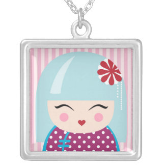 Kokeshi girl necklace