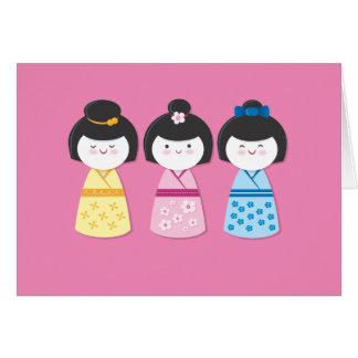 Kokeshi Girls Card