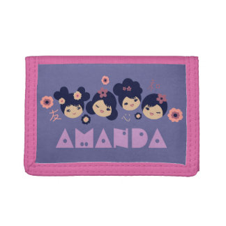 Kokeshi Girls & Kanji Personalized Name Trifold Wallet