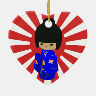 Kokeshi kawaii customizable text pendant ornament
