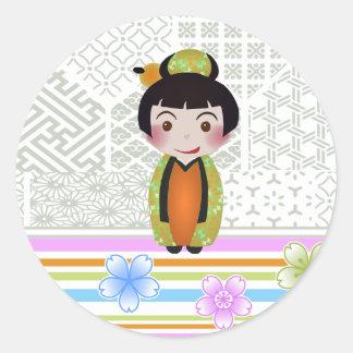 kokeshi noshi classic round sticker
