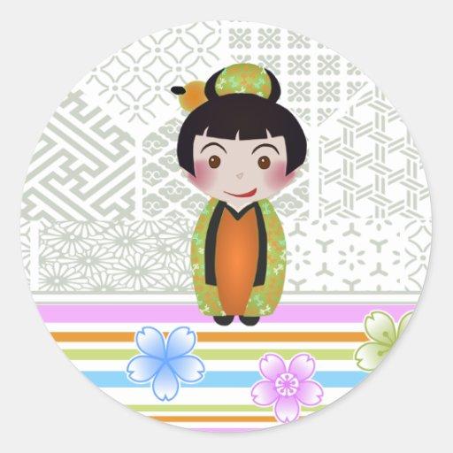 Kokeshi noshi round sticker zazzle for Stickers kokeshi