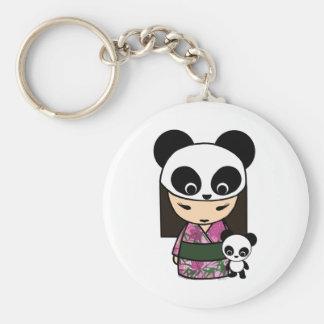 Kokeshi Panda by MonkeyHut Basic Round Button Key Ring