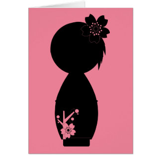 Kokeshi Sakura Silhouette Note Card