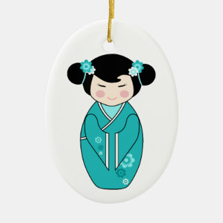 Kokeshi Style Doll Illustration in Blues Ceramic Oval Decoration