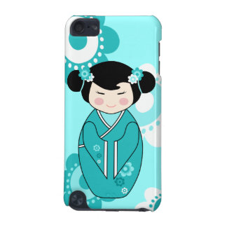 Kokeshi Style Doll Illustration in Blues iPod Touch (5th Generation) Case