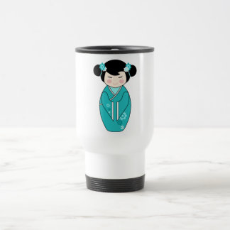 Kokeshi Style Doll Illustration in Blues Travel Mug
