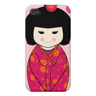 Kokeshi Style Doll Illustration with Floral Kimono Case For iPhone 4