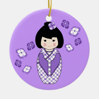 Kokeshi Style Doll Illustration with Floral Kimono Christmas Ornament