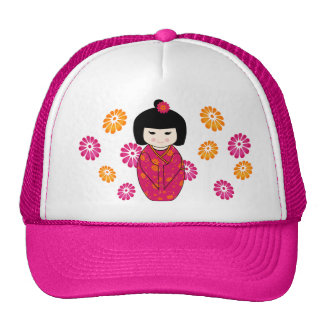 Kokeshi Style Doll Illustration with Floral Kimono Trucker Hat