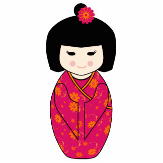 Kokeshi Style Doll Illustration with Floral Kimono Standing Photo Sculpture