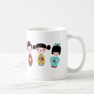kokeshi trio basic white mug