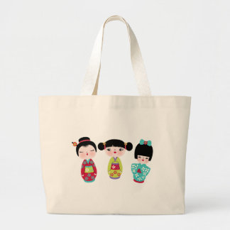 kokeshi trio large tote bag