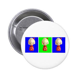 Kokeshi Trio Pins