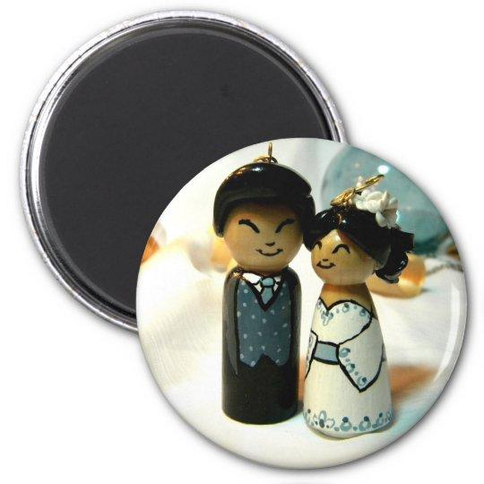 Kokeshi Wedding II 6 Cm Round Magnet