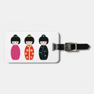 Kokeshi Wooden Dolls - Japanese Style Dolls Luggage Tag