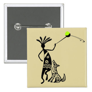 Kokopelli and Dog 15 Cm Square Badge