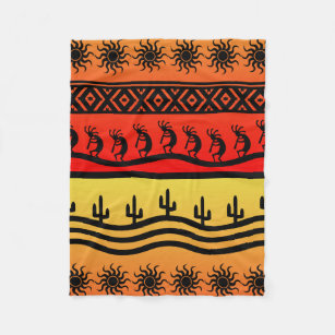 20a4f1825 Kokopelli Aztec Tribal Desert Southwestern Design Fleece Blanket