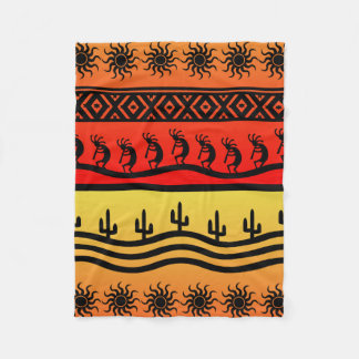 Kokopelli Aztec Tribal Desert Southwestern Design Fleece Blanket