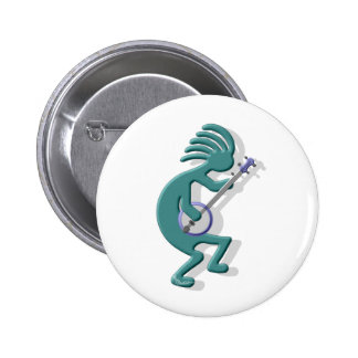 Kokopelli Banjo 6 Cm Round Badge
