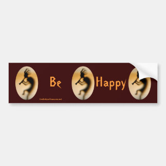 Kokopelli Be Happy Inspirational Bumper Sticker