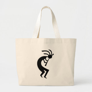 Kokopelli black design! large tote bag