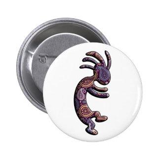 Kokopelli Blue Purple Paisley Theme 6 Cm Round Badge