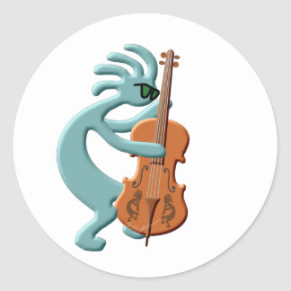 Kokopelli Cello Round Sticker