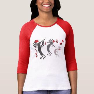 Kokopelli Christmas Ladies Raglan T-Shirt