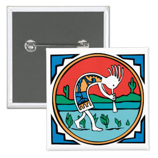 Kokopelli Color 15 Cm Square Badge