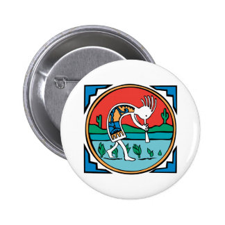 Kokopelli Color 6 Cm Round Badge