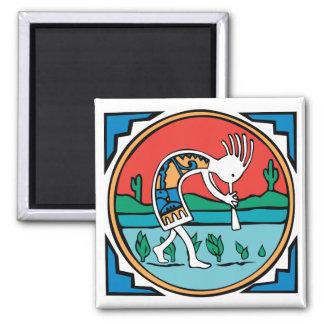 Kokopelli Color Square Magnet