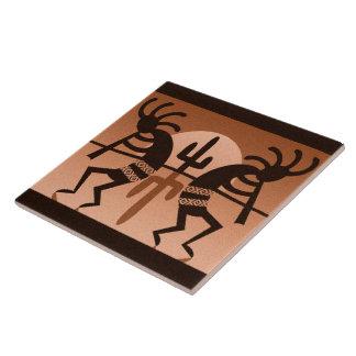 Kokopelli Desert Sun Cactus Southwest Ceramic Tile