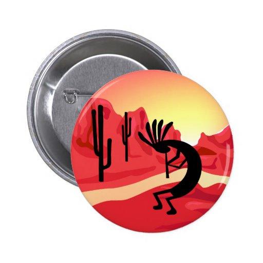 Kokopelli Desert Sunset Button Pins