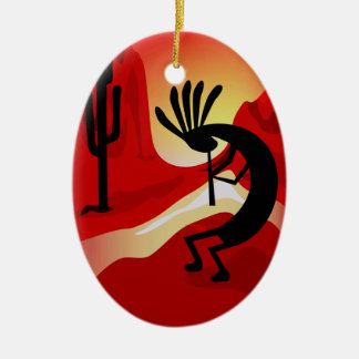 Kokopelli Desert Sunset Christmas Ornament