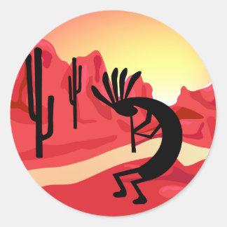 Kokopelli Desert Sunset  Sticker