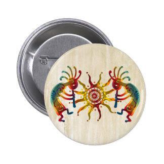 KOKOPELLI DUO SUN + your ideas 6 Cm Round Badge