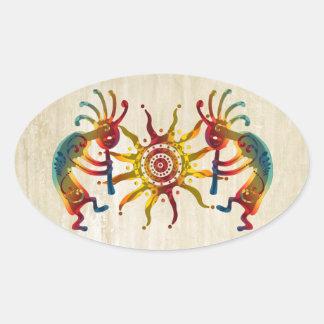 KOKOPELLI DUO SUN + your ideas Oval Sticker