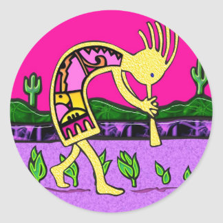 Kokopelli, Flute Player of the Desert Classic Round Sticker