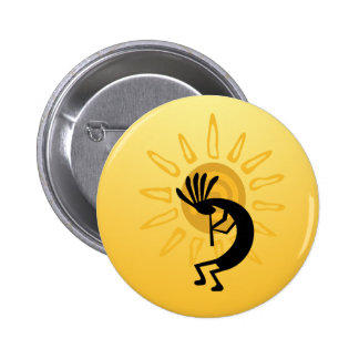 Kokopelli Gold Sun Button