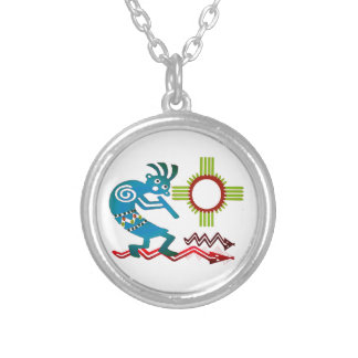 Kokopelli in the Sun Silver Plated Necklace