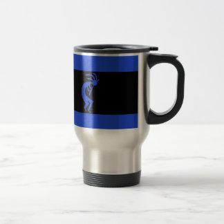 Kokopelli long Blue Travel Mug