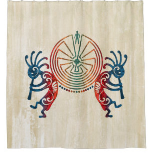 KOKOPELLI MAN IN THE MAZE Colored Your Ideas Shower Curtain