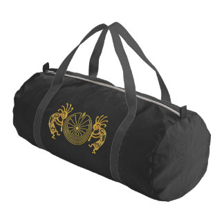 KOKOPELLI / MAN IN THE MAZE gold + your ideas Gym Duffel Bag