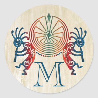 KOKOPELLI / MAN IN THE MAZE + your monogram Classic Round Sticker