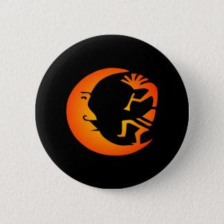 Kokopelli Moon-Black 6 Cm Round Badge